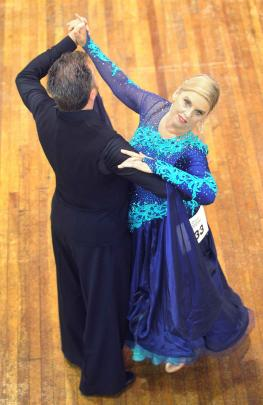 Joy Russ and Kingsley Gainsford, of Auckland, perform in the pro-am foxtrot at the Dunedin Town...