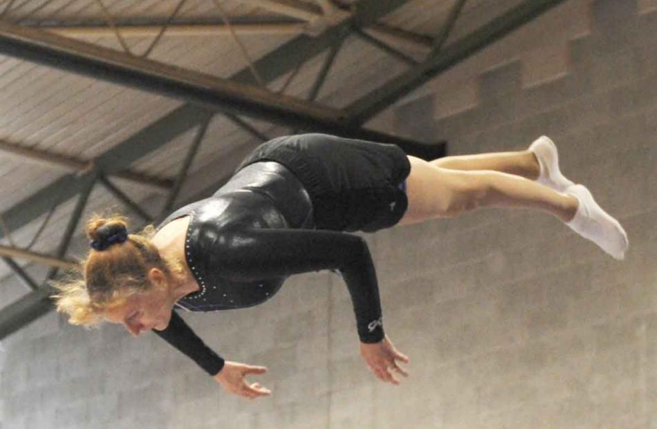 Trampolinist Jenny Newstead in the double mini event at the Caledonian Gymnasium on Saturday.