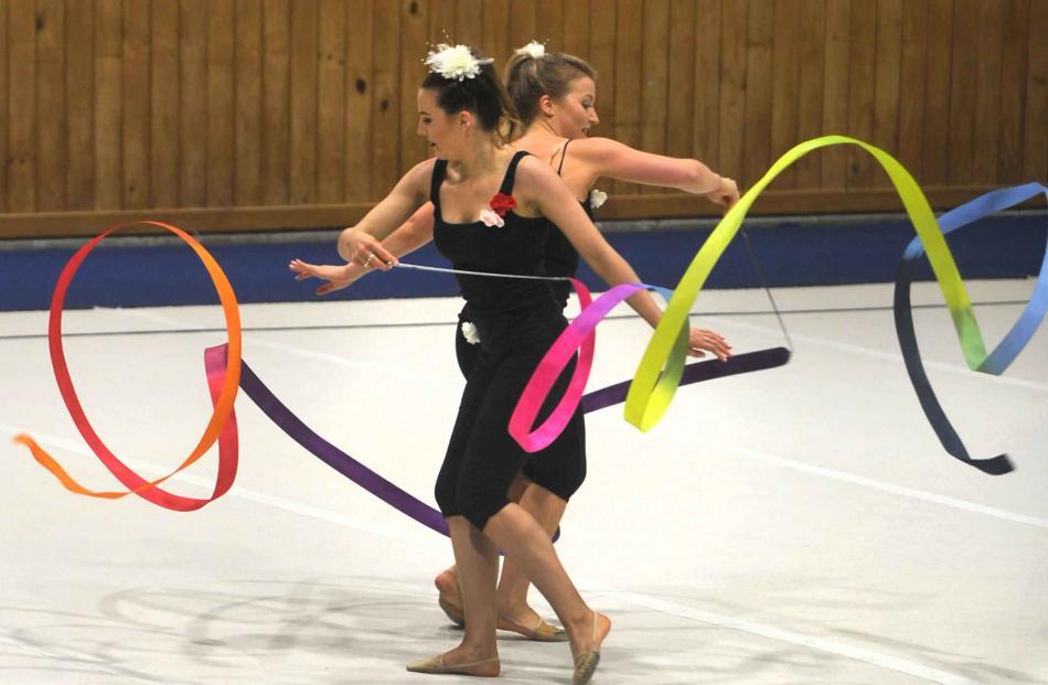 Paige Walsh, 21, and Mikaela Larsen-Walsh, 23, both of Dunedin, in the rhythmic gymnastics...