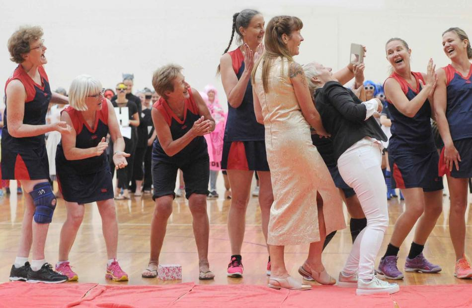 Athletes at the Edgar centre for the Netball march past ceremony on Saturday.