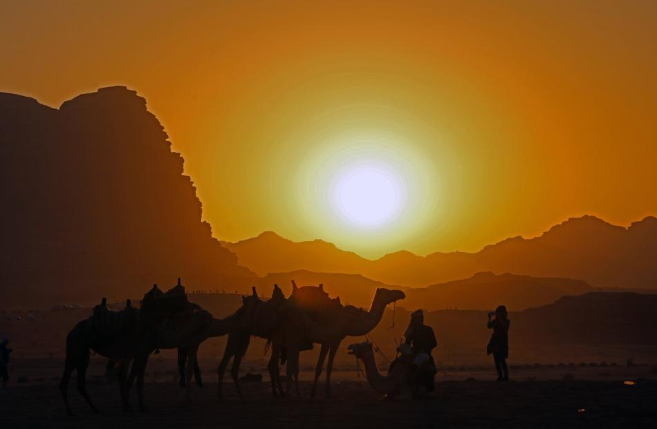 A searing sunset adds more magic to the lunar-like Wadi Rum desert.Photos: TCA