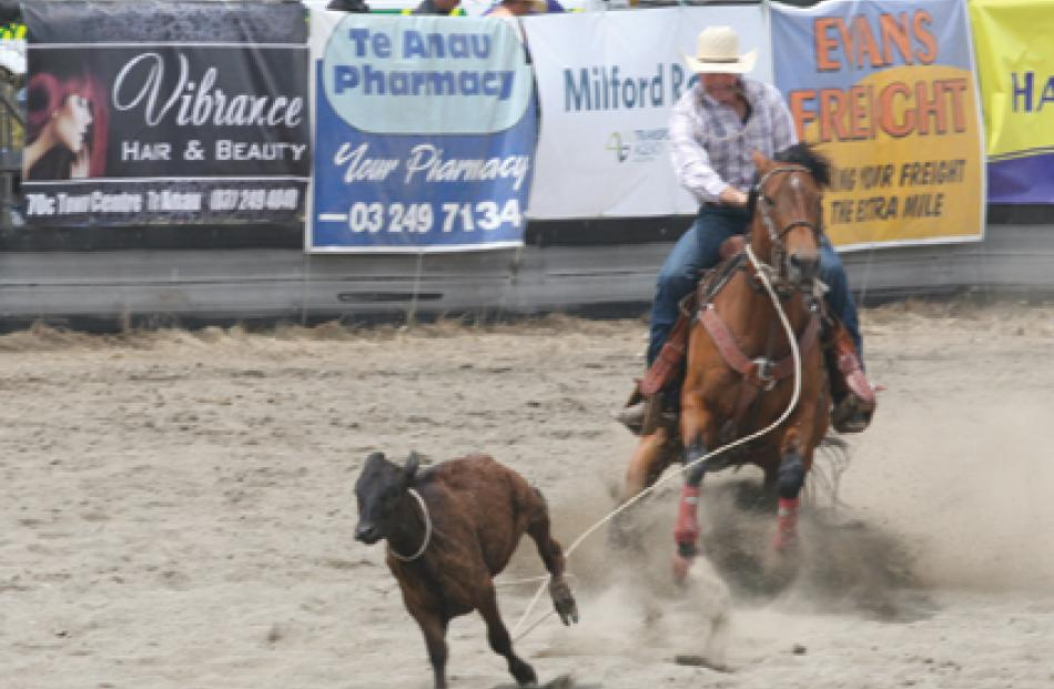 Rope and Tie event at the recent 50th Te Anau Rodeo. Photo: Julie Walls