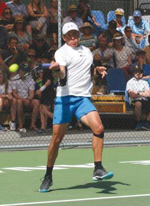 Rubin Statham in action against Wellington's Finn Tearney in the final.