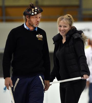 James and Bridget Becker on the ice yesterday Photos: Peter McIntosh