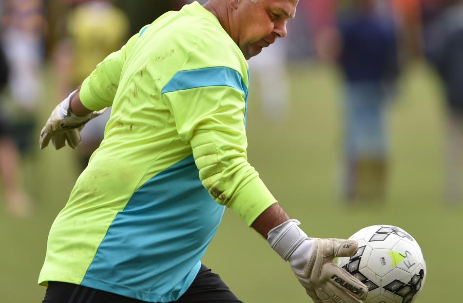 Invercargill Nomads goalie Brian Morton prepares to hoof the ball upfield during his side's match...