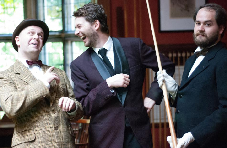 Andrew Ford (Steppings, left) Jack Buchanan (Bertie) and Andrew Paterson (Jeeves) ham it up at Olveston Historic Home. Photo: Fortune Theatre