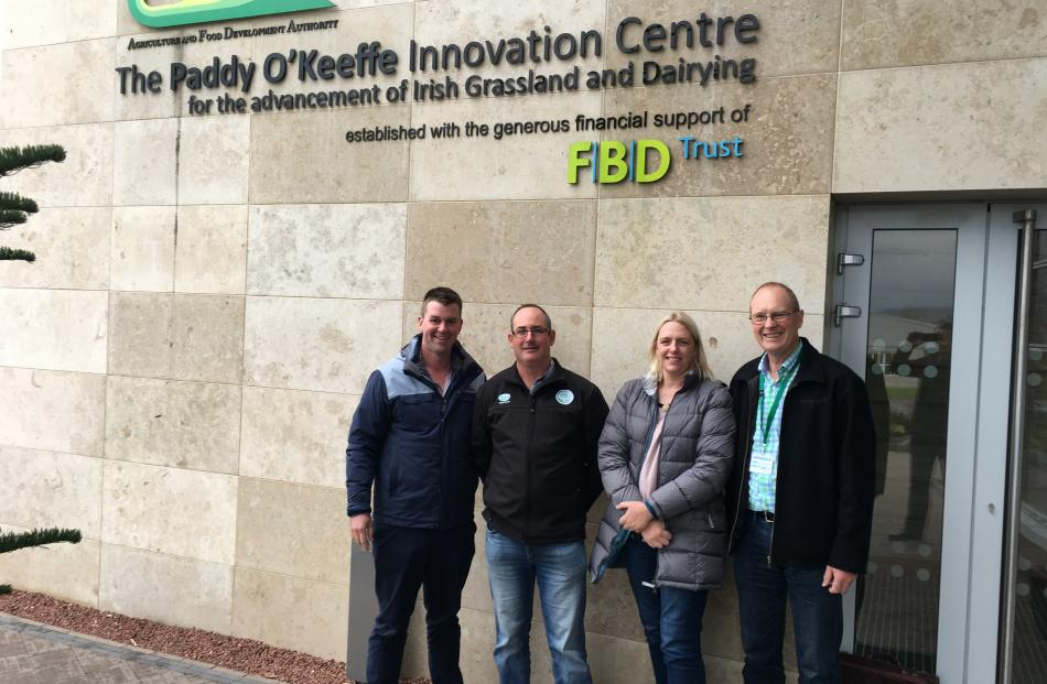 Southland dairy farmers (from left) Tony Miles, Tim Driscoll, AgResearch scientist Jane Chrystal and DairyNZ research and development general manager David McCall stand outside the Teagasc facility in Ireland. Photo: Supplied