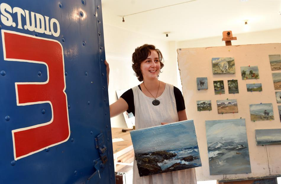 Artist Esther Bosshard with some of her work. Photo: Peter McIntosh