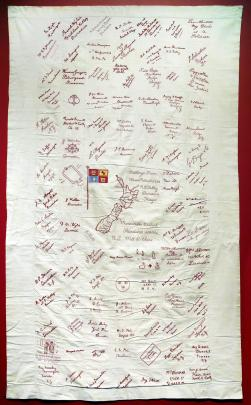 The North East Valley autograph quilt now on display.
