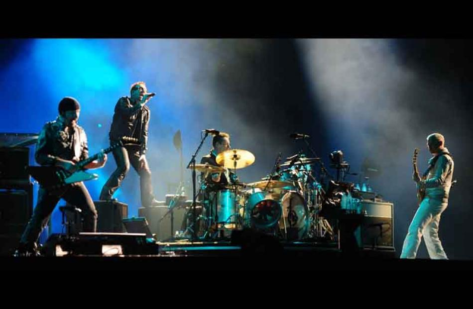 U2 work the crowd during the first Auckland show on their 360deg World Tour, on Thursday.