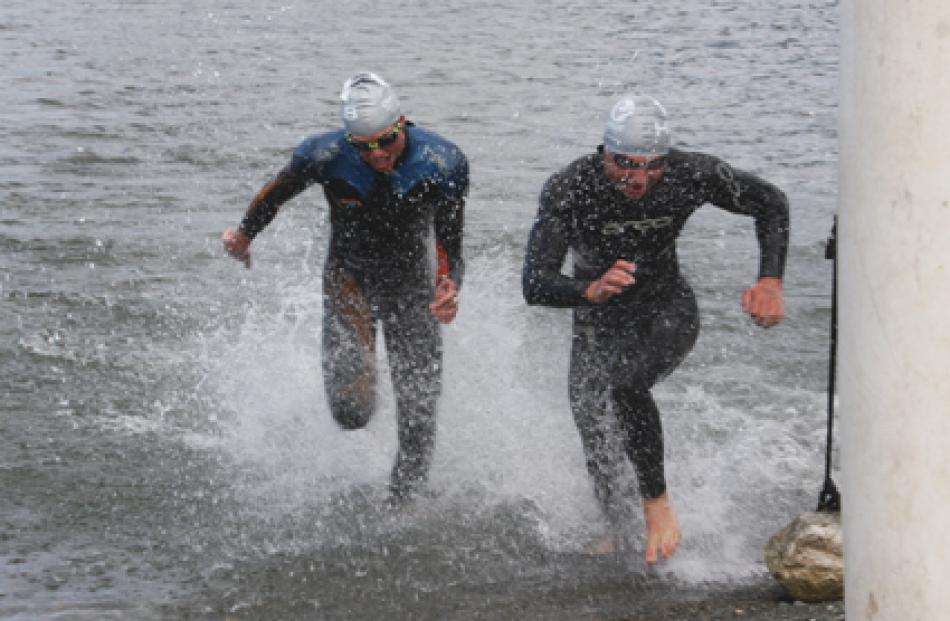 Sam Thornbury of Verdon College (left) and Flynn Sinclair of Southland Boys High heading to the...
