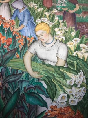 A scene from Maxine Abro's mural in Coit Tower.