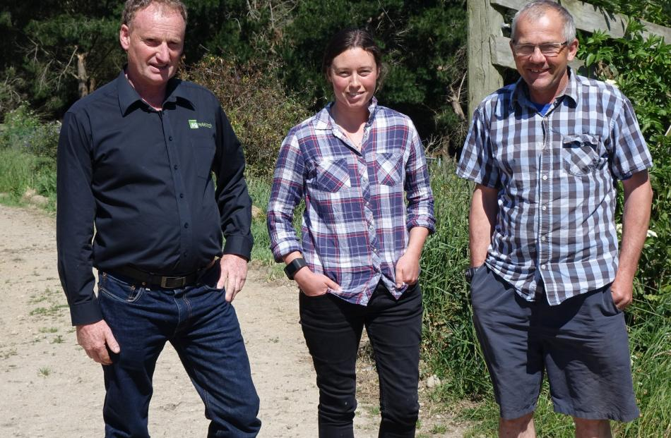 AgResearch Invermay farm staff Kevin Knowler, Rachel Worth and Brett Hurley.