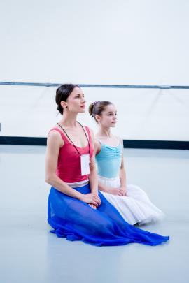 Sara Garbowski, who will dance the part of Ada McGrath in Dunedin, with Hazel Couper, who will play her daughter Flora.