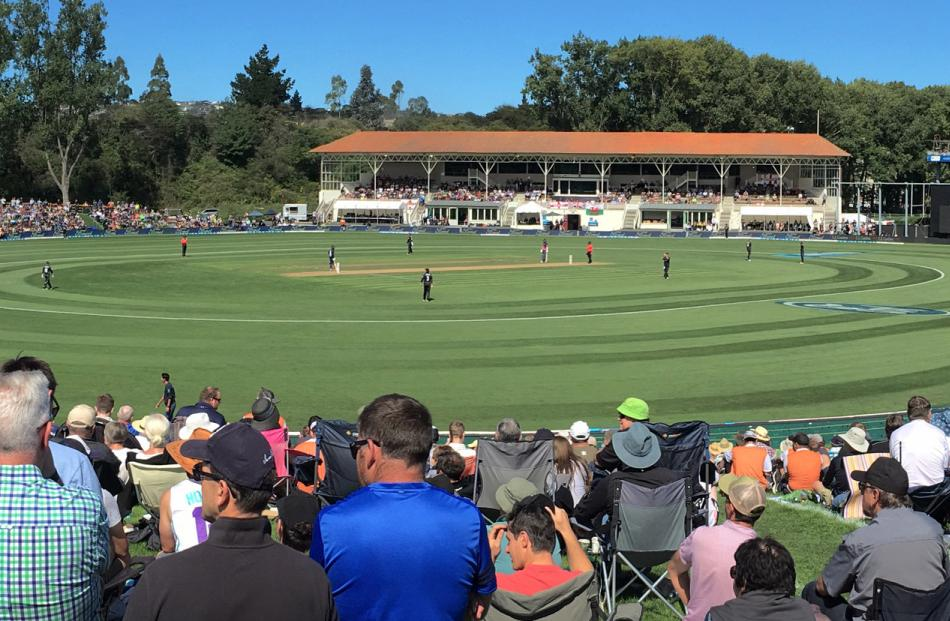 The crowd enjoy the action during England's innings in yesterday's fourth ODI against New Zealand at the University Oval. Photos: Peter McIntosh