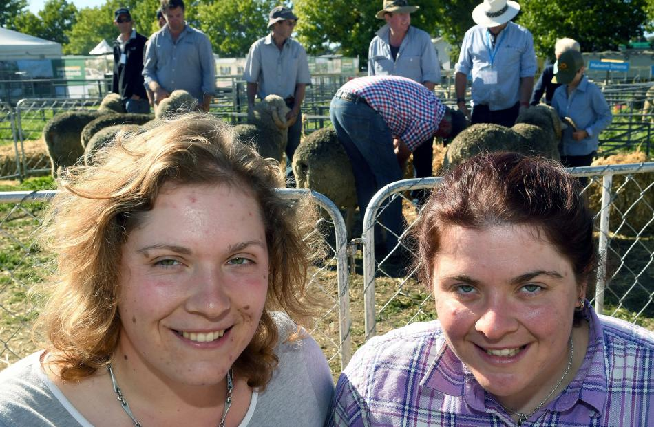 Sheep enthusiasts Sarah (left) and Elizabeth Graham inspect the sheep yarding at the Wanaka A and P Show. Photos: Stephen Jaquiery