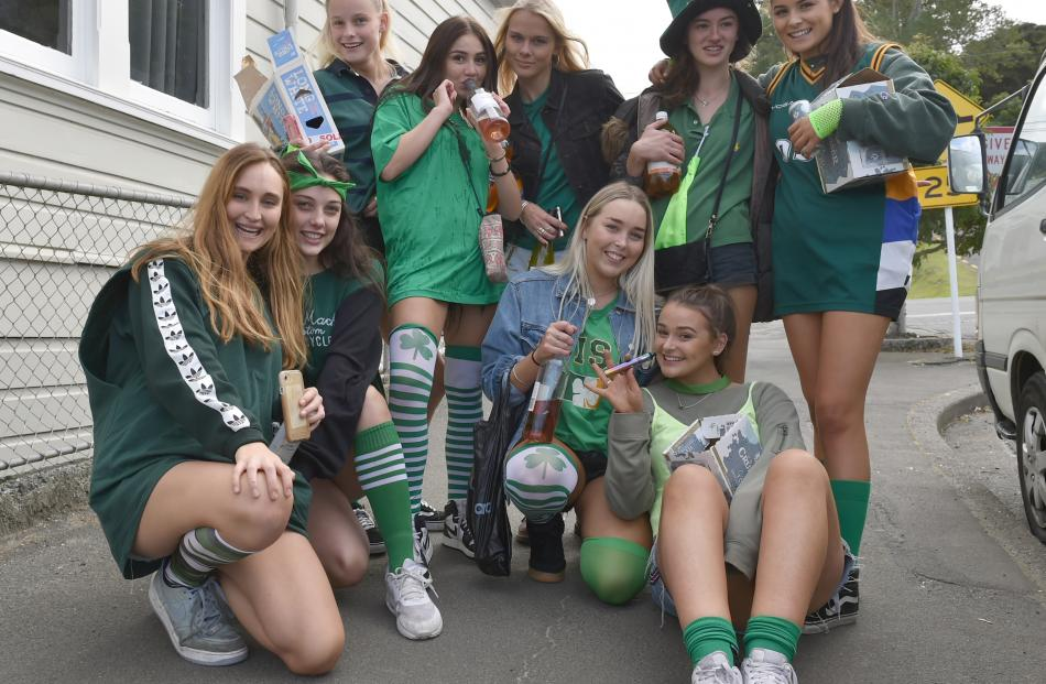 St Patrick's Day is in full swing in North Dunedin with several parties and lots of young people...