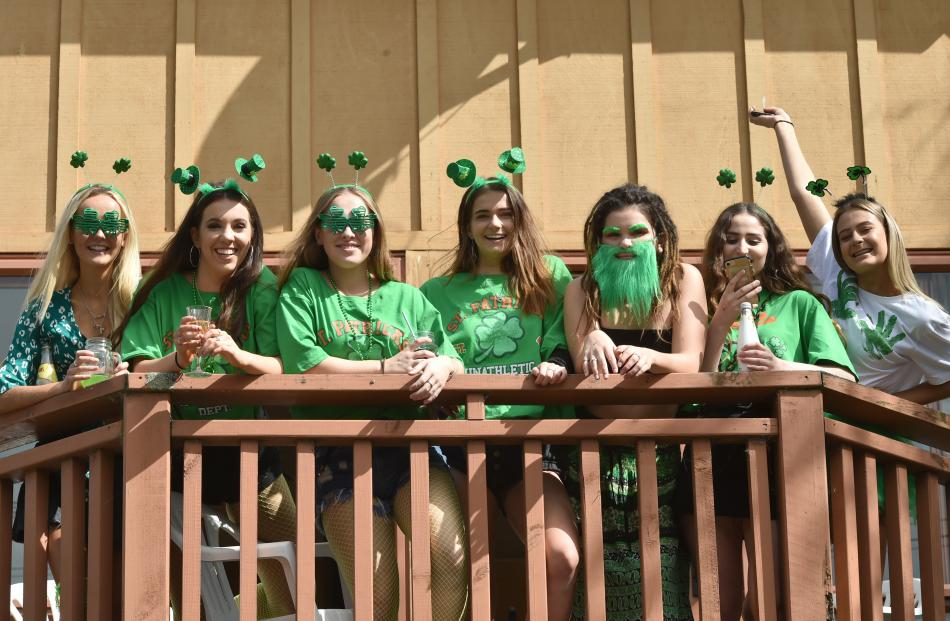 Students donned green to celebrate St Patrick's Day. Photo: Gregor Richardson