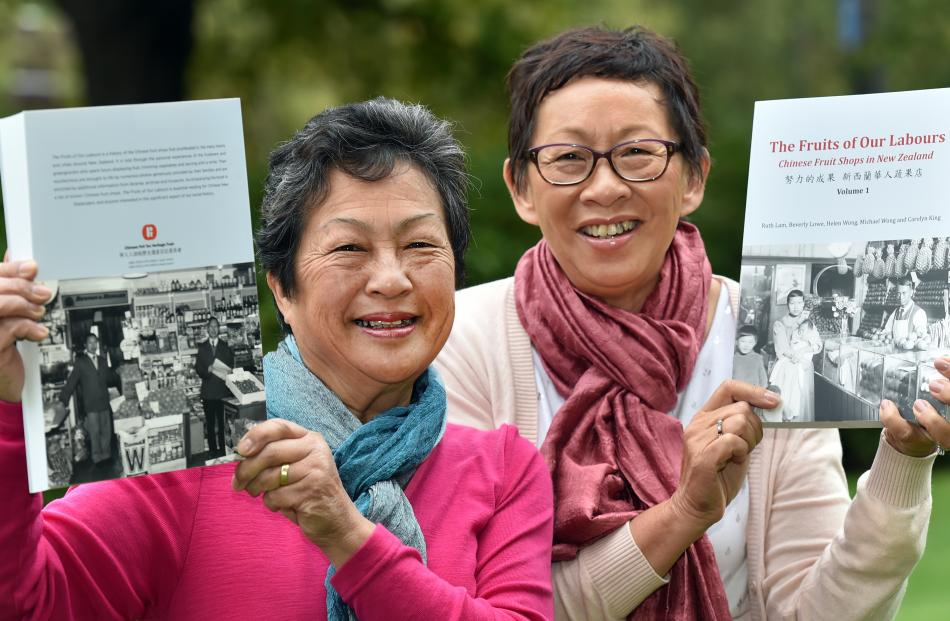 Co-authors Carolyn King, of Ashburton, (left) and Ruth Lam, of Auckland, hold the first of two...