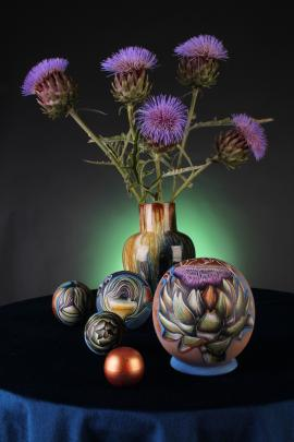 Artichokes are Kezia Fields' latest design. She likes to photograph them with the real thing.