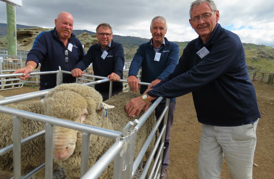 PGG Wrightson staff (from left) wool representative Alistair Flett, of Alexandra, South Island wool procurement manager Rob Cochrane, of Christchurch, general manager Grant Edwards, of Christchurch, and wool representative Graeme Bell, of Alexandra. Photo