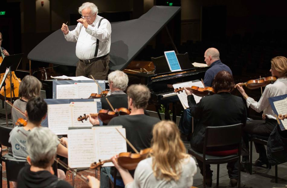 Conductor Nicholas Braithwaite rehearses Dvorak's New World with the Dunedin Symphony Orchestra in the Dunedin Town Hall. Photos: Supplied
