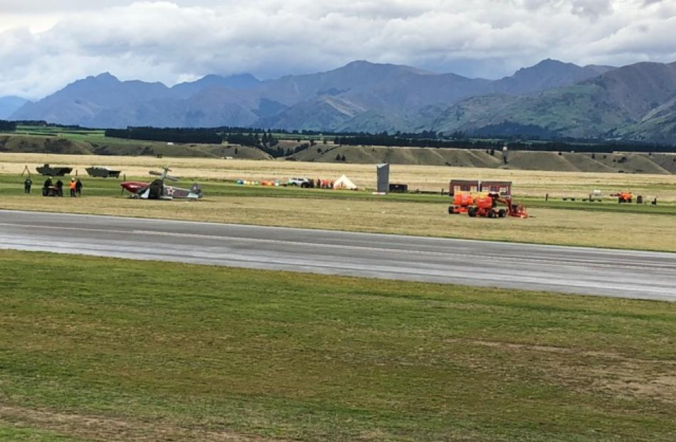 The Yak collided shortly after the opening of the airshow this morning. Photo: Grant McKenzie