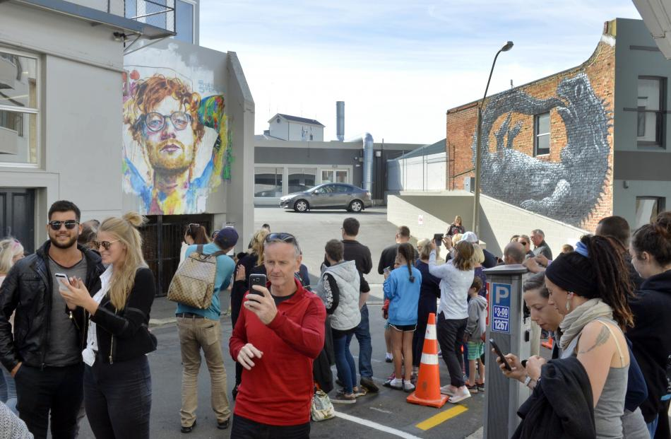 The Bath St Ed Sheeran mural becomes a pilgrimage site at the weekend. Photo: Gerard O'Brien