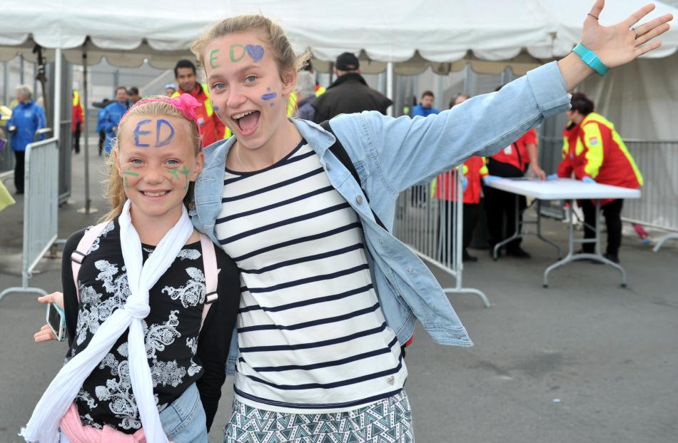 Tuturau sisters Amelia (9) and Emily (14) Robinson are excited about  the concert yesterday....