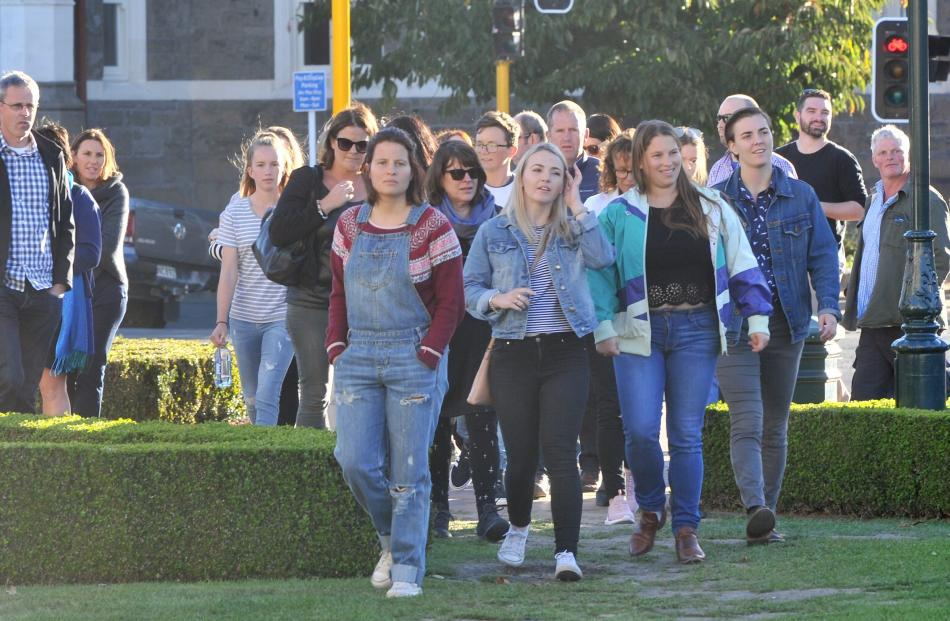Sheeran fans  make their way to the concert on Saturday night. Photo: Christine O'Connor