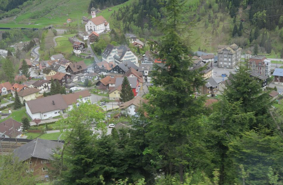 The Gotthard Panoramic Express passes through many small Swiss villages.