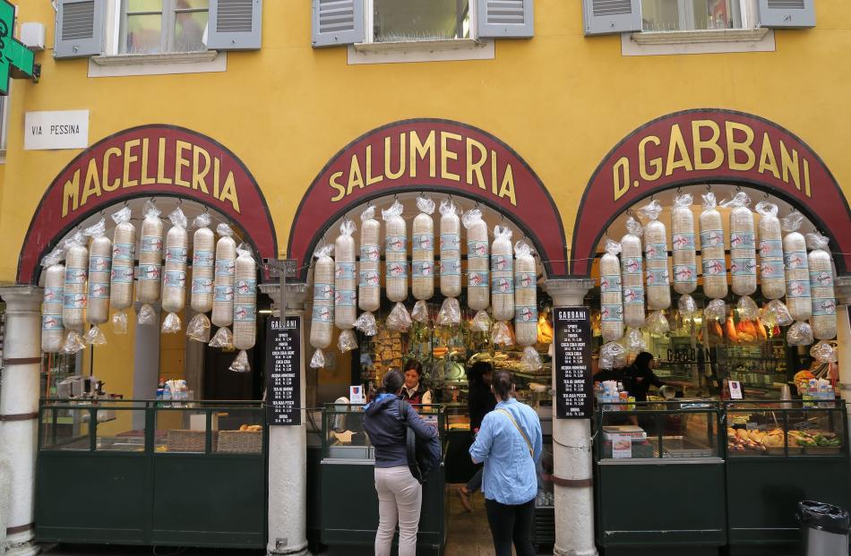 Around Piazza dello Riforma, the main square in Lugano, Switzerland, historic shops and markets...