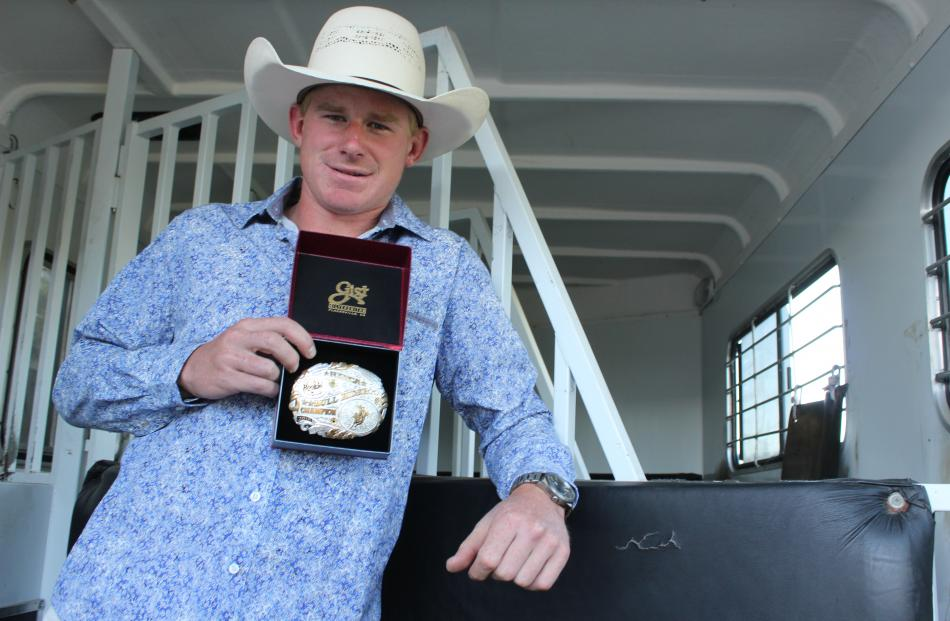 Western Southland man Matt Adams was recently crowned the 2017-18 New Zealand Rodeo Cowboy Association National Rookie Bull Riding champion. Photo: Nicole Sharp
