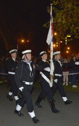 Naval colour party at the service. Photo: Gerard O'Brien