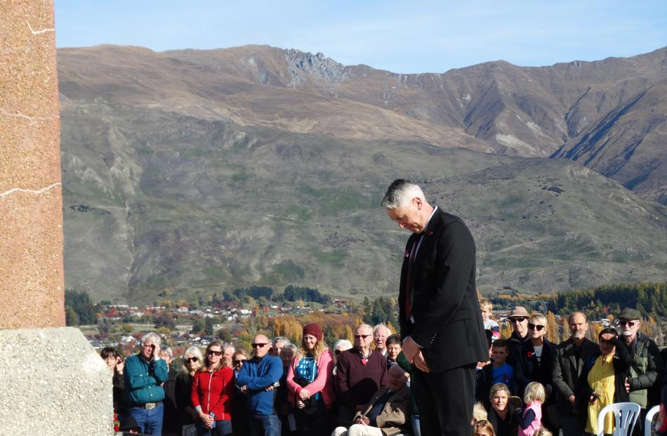 After laying a wreath on the Wanaka Cenotaph, Queenstown Lakes deputy mayor Calum McLeod takes a...