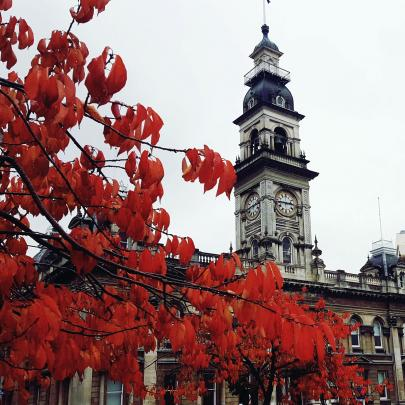 Vibrant foliage next to Robert Burns' statue in Dunedin's Octagon. PHOTO: Fiona Owers