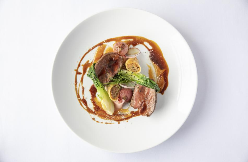 James Waite's dish — roast lamb rump, lamb shoulder spring roll, bok choy, radish, ginger, miso caramel and shitake jus.
