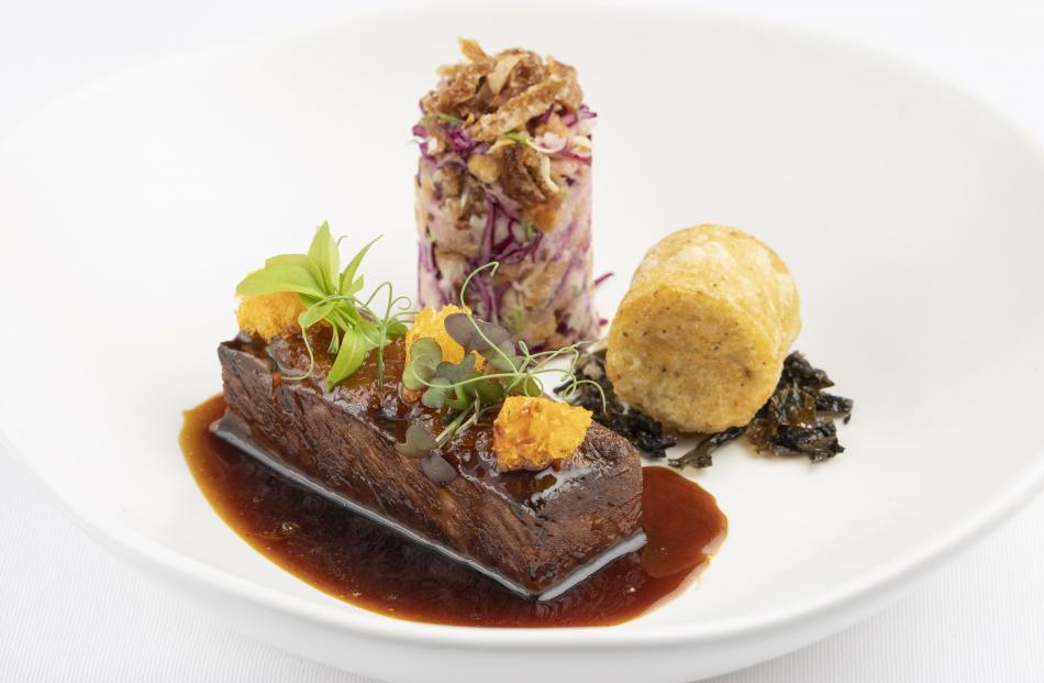 Greg Piner's dish — lime leaf infused sticky short ribs with textures of mandarin, wasabi potato...