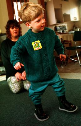 Shaun  (3) shows an early energetic spark, not long after learning to walk, while his mother,...