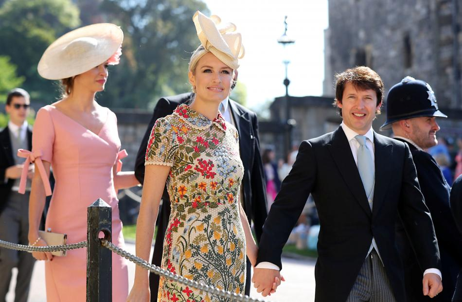 James Blunt (right) and Sofia Wellesley arrive at St George's Chapel at Windsor Castle for the...