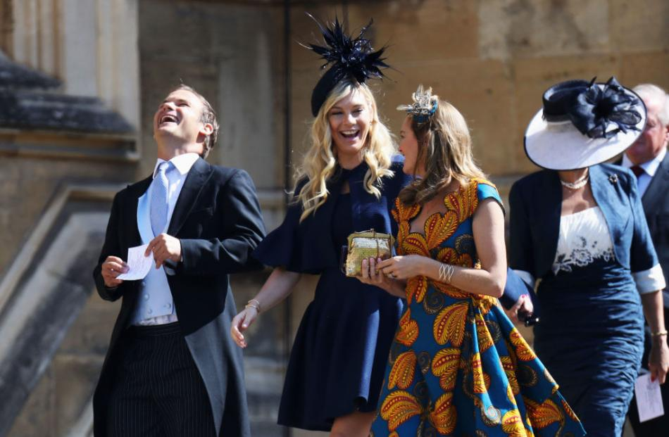 Chelsy Davy (C) arrives at the wedding of Prince Harry to Ms Meghan Markle at St George's Chapel,...