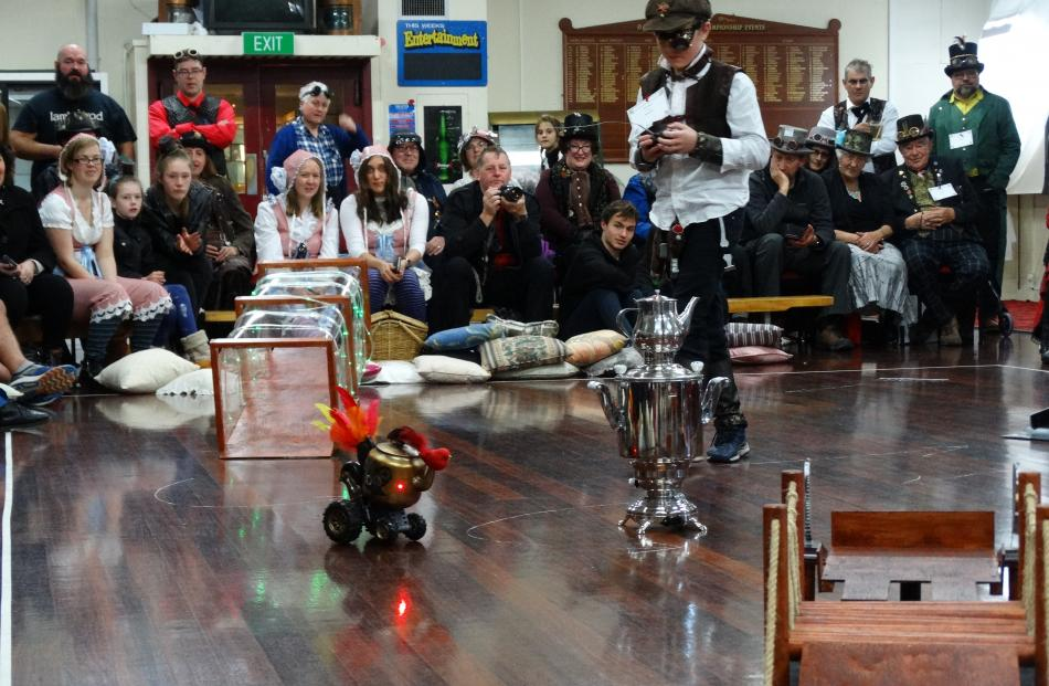 Ashyr Lane (10), of Christchurch, races his teapot ''Wings of Fire'' during  teapot racing, part...