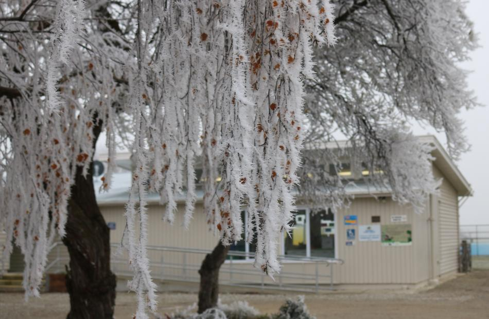 Poolburn School in the midst of a hoar frost which school staff said was the biggest in four...