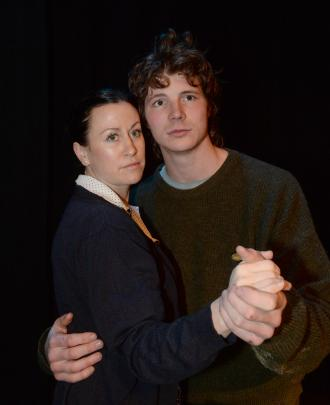 Denise Casey, as Brenda, and Brook Bray, as Barney Mulcahy, during a rehearsal of The Devil and Mr Mulcahy. Photo: Linda Robertson