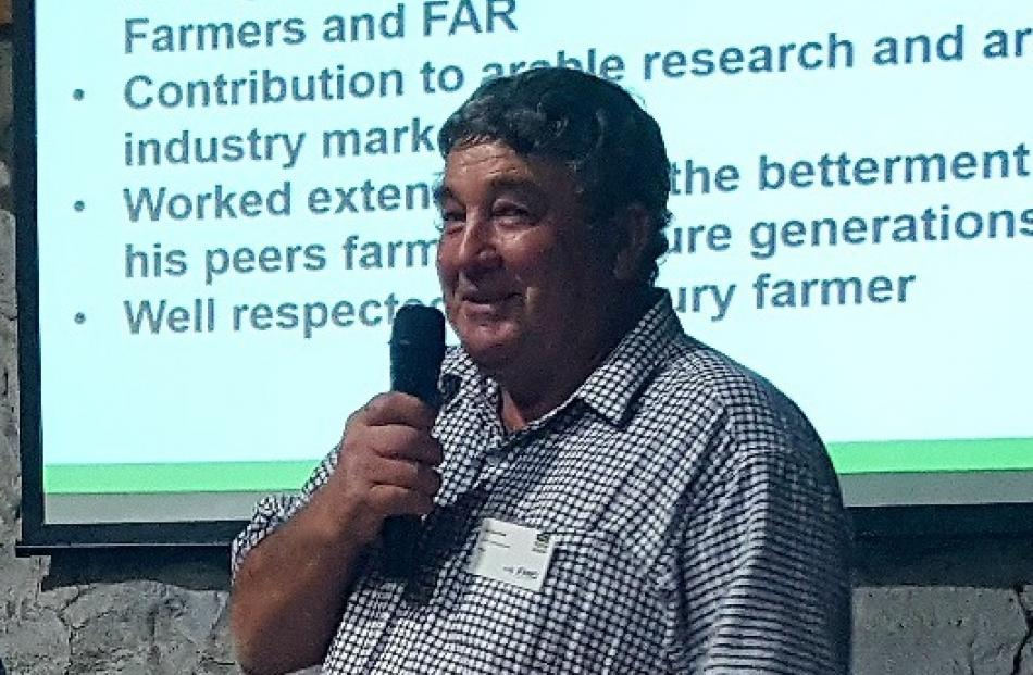 North Canterbury farmer Syd Worsfold was named Federated Farmers Arable Farmer of the Year during a conference in Timaru last Wednesday.