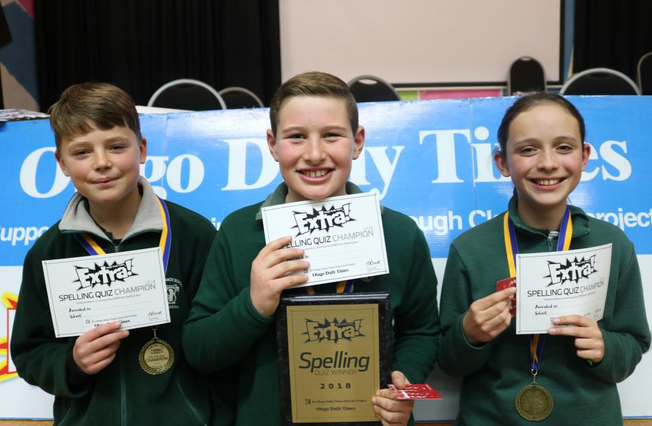 Otago Daily Times Extra! Central Otago years 7-8 winners from The Terrace School in Alexandra are (from left) Jacob Bromby (12), Riley Allan (11) and Rose Wearing (12).