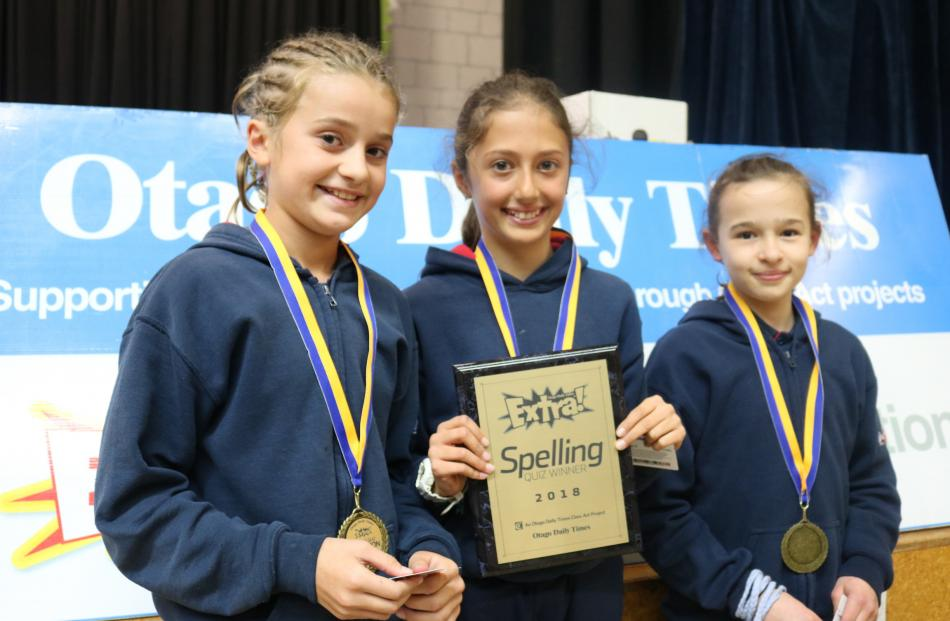 A team from Remarkables Primary School took first place in the Central Otago Extra! years 5-6 spelling competition yesterday. They are (from left) Cameron Bates, Siena Mackley and Tayah Vivian (all 10).