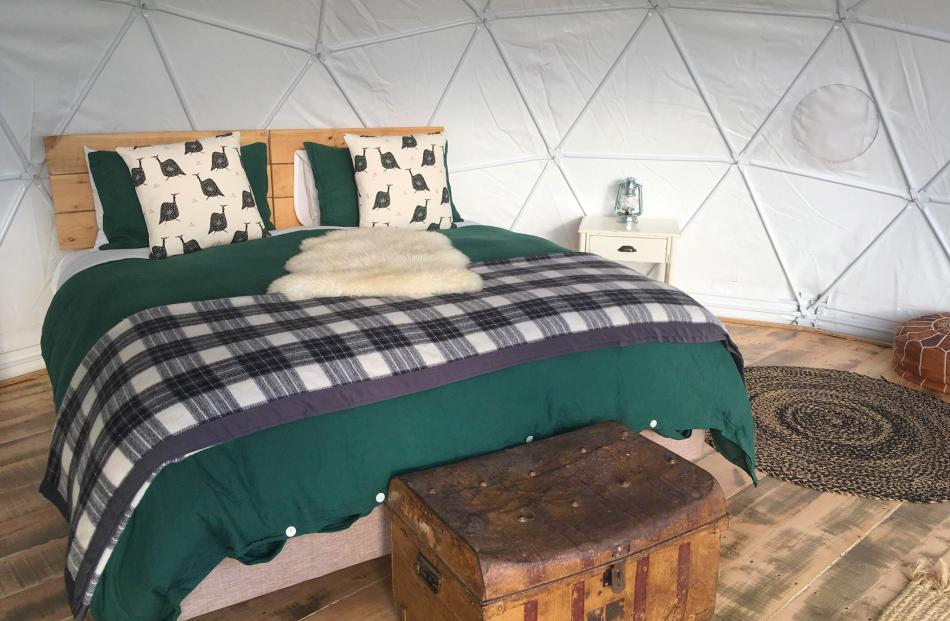 The interior of one of the geodesic dome tents.