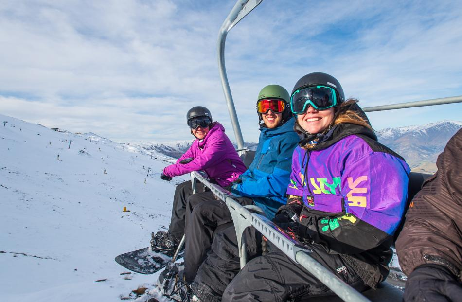 Pictured enjoying the first official day of the Coronet Peak season  are (from left) Sarah Preece...
