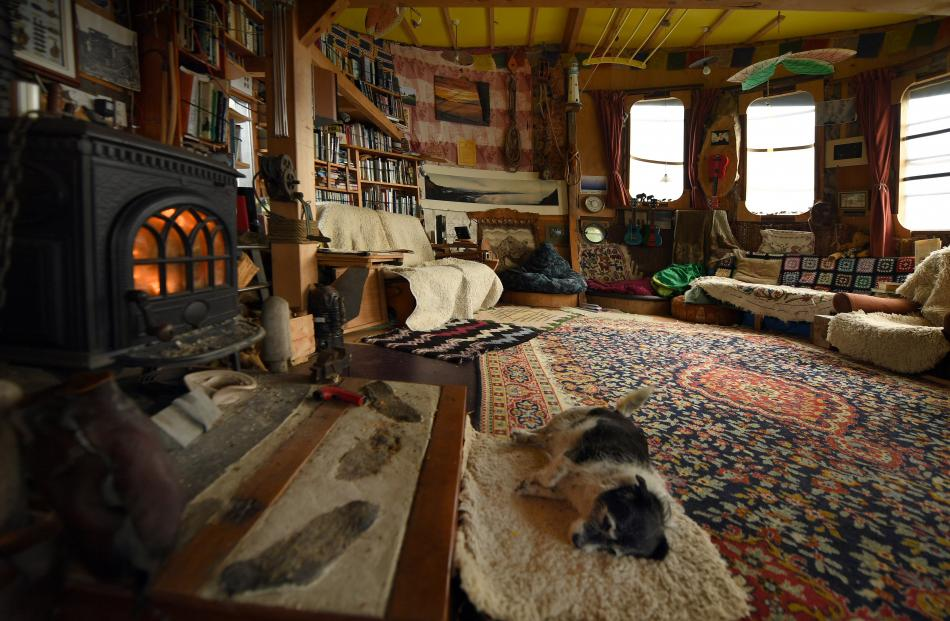 Olive the dog rests in front of the fire inside Aramoana man Just Doi's structure which he says...